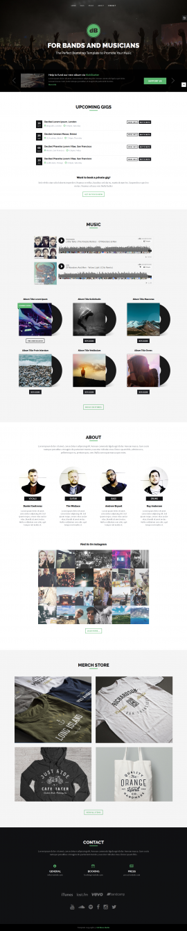 Responsive website template for bands and musicians