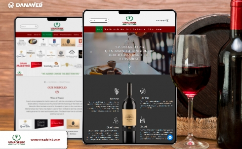DanaWeb thiết kế website giới thiệu rượu vang VinaDrink