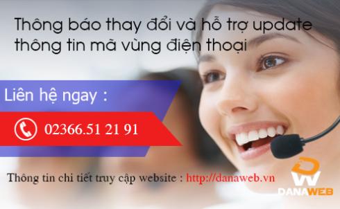 Thông báo thay đổi và hỗ trợ update thông tin mã vùng điện thoại