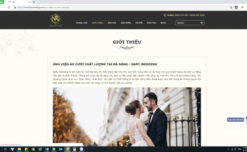DanaWeb thiết kế website ảnh viện áo cưới NARY WEDDING